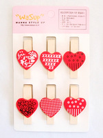 Free shipping 35mm red love heart photos wedding mini clip Wooden Clip Pegs Kids Crafts Party Favor Supply 120pcs/lot