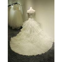 Korean Bra 2014 new wedding dress lace wedding word shoulder bride large tail