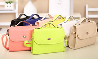 2014 new girl's vintage fashion small bags mini women's portable colorful PU street shopping use messenger bag online