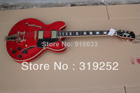 Free shipping New Best mahogany Body ES-335 es335 Bigsby Tremolo ripple Red Jazz Electric Guitar