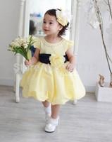 Baby Girls Princess Dresses Hot summer Girl's Dress Children's clothing bright yellow princess western dress