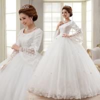 Autumn and winter long-sleeve sweet princess rhinestone lace bride dress wedding dress Freeshipping