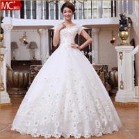New arrival 2014 slit neckline wedding dress bandage bride elegant white wedding dress Freeshipping