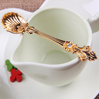 Gold Zakka Novel Retro Spoon Palace Crown Diamond Handle Crystal Coffee Tea Cake Ice Cream Small Scoops Households Cooking Tools