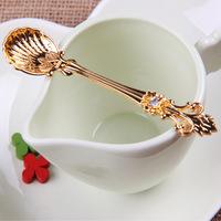 Gold Zakka Novel Retro Spoon Palace Crown Diamond Handle Crystal Coffee Tea Cake Ice Cream Small Scoops Households Cooking Tools