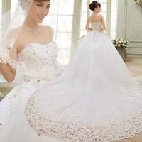 2014 spring sweet princess luxury diamond train wedding dress tube top bandage wedding dress Freeshipping