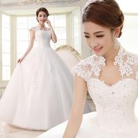 2014 famous design high quality wedding dress slim lace strap bride dress Freeshiping