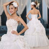 2013 princess lace wedding dress bride sleeveless shoulder dress Freeshipping