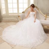 Wedding dress 2014 hot sale famous designsweet lace strap tube top train princess slim bride wedding dress Freeshipping