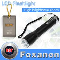Foxanon Brand Black Aluminium Portable LED Torch Zoomable Flashlight Handheld Light Lamp 1200LM CREE T6 Waterproof lighting 1ps