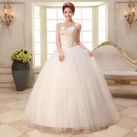 2014 sweet princess bride wedding dress formal heart tube top bandage rhinestone flower wedding dress