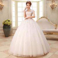 2014 wedding formal dress flower lace vintage double-shoulder slim straps bride married princess wedding dress Freeshipping