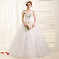 2014 New wedding dress high quality princess rhinestone tube top bandage sweet slim bride dress Freeshipping