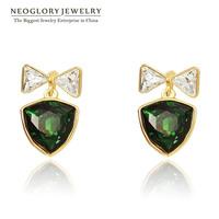 Neoglory  Rhinestone Crystal 14K Gold Plated Dangle Drop Earrings For Women Jewelry Accessories