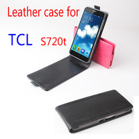 High Quality Baiwei Flip Vertical UP-Down Business Luxury PU Leather Case for TCL S720 S720T Smart Phone With Stand Black