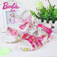 Hot Sale Orginal Brand Barbie Girls' Casual Bowknot Sandals Children's Shoes 2014 New Summer Kids Color 28-35 Size Free Shipping