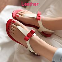 Genuine Leather Black Red Pink Size 6 Bowtie Flat Flip Flops Shoes Women Sweet Shoe Woman Sandals Casual Lady Footwear on Sale