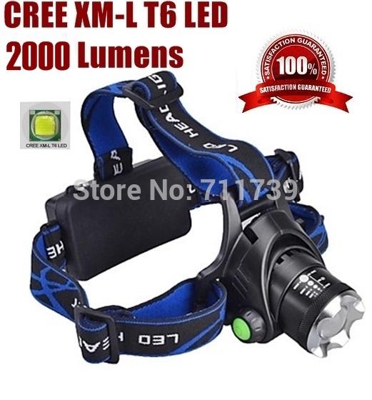 AloneFire HP79 זום cree led פנס Cree XML T6 LED 2000LM cree led מנורה led אור 1/2x18650+AC מטען/מטען לרכב
