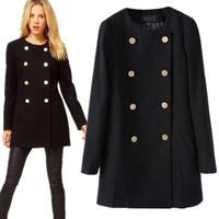 UK New 2014 Spring Winter ZA Women Black Grey O neck Double Breasted Cashmere Coat Long Jacket  Casacos femininos Free shipping