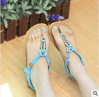 2014 new bohemian sandals shoes summer new beaded thong flip OL Korean flat shoes flat with child