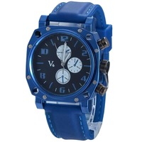 2014 trending of fashon brand V6 Super Speed blue Rubber Band Men's Wrist Watch free shipping