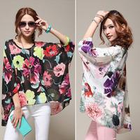 New Fashion Ladies' elegant floral print blouse O-neck casual vintage long sleeve shirt slim high quality brand designer top035