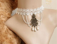 Bride wedding white lace with pearl necklace, vintage women short clavicle chain necklaces