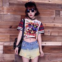 Zipper HARAJUKU short design space cotton short-sleeve T-shirt female shirt high waist top