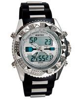 BISTEC 11938 Men's Round Dial Analog & Digital Display Dual-Movement Stylish Wrist Watch with Alarm & Light (White)