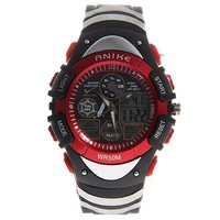 Free shipping Anike A5114 Round Dial Dual Time Modes Sport Watch - Black & Red