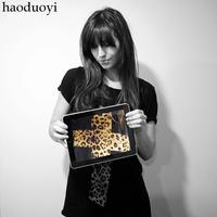 2014 leopard print cross t-shirt short-sleeve cotton black haoduoyi