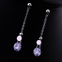 Italina Simple design women jewelry/zircon 18k gold plated line drop earrings WL0675
