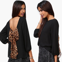 2014 New Fashion Lady Women's sexy Three Quarter backless Leopard Bow tipe top loose chiffon Summer plus size Casual Blouse