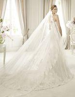 2014 New Arrival Long Lace Applique 3 Meters Elegant Novia Bridal Veil