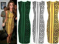 Roupas femininas 2014 summer dress Geometric print sleeveless party evening dress bodycon dresses plus size women clothing
