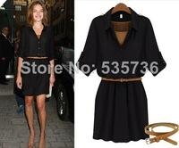 S-XL 2014 New  high quality Summer Women Fashion Half Sleeve Shirts Casual Loose Blouses Plus Size Slim Chiffon Dress 3863
