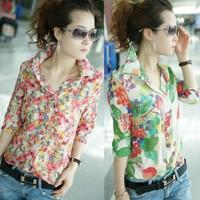 Vintage Fashion Women Shirt Colorful Floral Flower Print Turn-down Collar Button Chiffon Blouse Tops