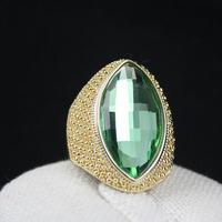 1pcs/lot women high quality 18K yellow gold plated big green crystal ring Free Shipping