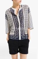 2014 new fashion Europe women summer elegant v-neck Blue and White printed blouse Girl casual 3/4 sleeve blouses#E413