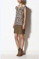 New Women Vintage Prints Short Sleeve V-Neck Panelled Dress, Ladies Brief Chiffon Mini Dress q263
