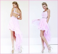 Charming Square Collar Crystal Pink Backless Sexy Party Dress High Low Prom Dresses