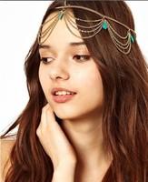 Wholesale and Retail fashion new chain blue stone headband Elastic hair band hair accessories
