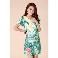 Europe Fashion Women Dress Painting Landscape Print Floral Chiffon Dress