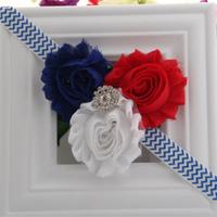 5pcs/lot 4th of July America Patriotic Red White Blue Shabby Rosette Flower FOE Elastic Kids Headbands Free Shipping