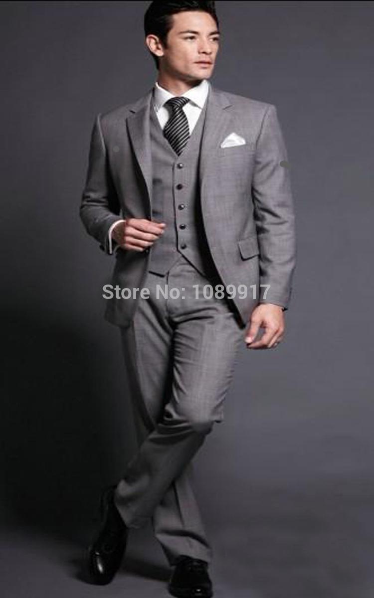 online kaufen gro handel grau herren anzug mit weste aus. Black Bedroom Furniture Sets. Home Design Ideas