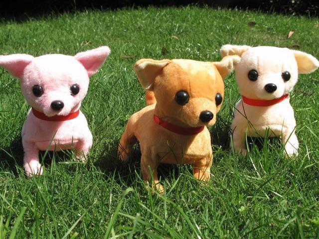 stuffed animal plush toy about 16cm Electric Chihuahua dog barking puppy walking dog wag tail dog doll children's gift w358(China (Mainland))