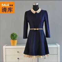 Women's Spring Autumn Thin woolen ladies dress College Wind Dress woolen dresses D03G