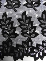 High quality African guipure lace,velevt lace fabric 15yards No.2339 Color.ASH_BLACK