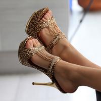 Ladies silk surface diamond platform high-heeled sandals Women Leopard Print sper Higher heel sandals women's shoes with heels