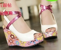 New fashion color block decoration strap wedges high-heeled open toe sandals sexy open toe platform women's shoes  S613